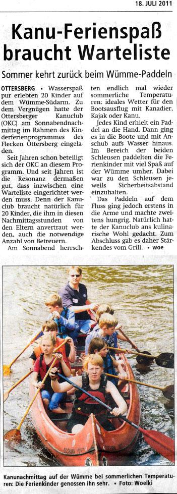 Ferienprogramm 2011 Achimer Kreisblatt