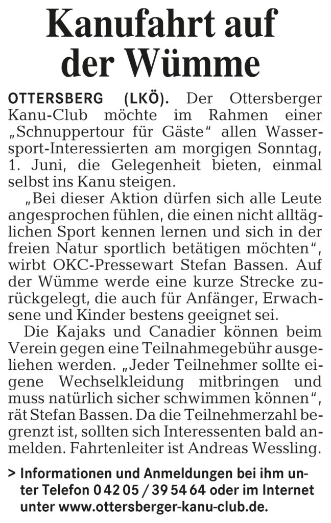 Schnupperpaddeln 2008 Wümme-Zeitung